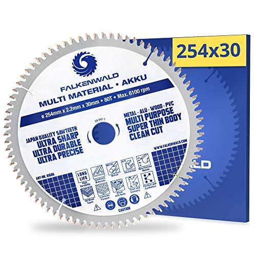 FALKENWALD® Hoja de sierra circular (254 x 30 mm, batería, multi) para madera, metal, plástico y aluminio, con 80 dientes de metal duro, compatible con Bosch PTS10, Metabo KGS 254 y otras marcas