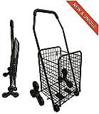 Bo Time 3760278732023 Einkaufstrolley, Metall, faltbar, Kapazität 43 l, Farbe: Schwarz, 8 Rollen ohne Tasche