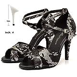 HOAPL Mujeres Danza Calza Zapatos de Serpiente Blanca Negro Textura Baile Latino Señoras Salón Baile Fiesta Tango Baile Salsa Calza 6-10cm,10cm,4.5