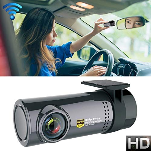 Mini-Auto-Schlag-Kamera WiFi Monitor Full HD dashcam Videorecorder Camcorder Bewegungserkennung, Unterstützungs-TF-Karte u Android & iOS, HD Auto DVR Parken Überwachung, Loop-Aufnahme, Videorekorder,