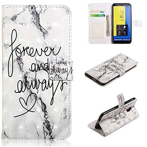 Shinyzone Coque pour Samsung Galaxy J6 2018 avec Porte-Cartes,Etui Portefeuille Magnétique en Cuir Cristal 3D TPU Silicone Housse Flip Cover pour Samsung Galaxy J6 2018-Forever Marbre