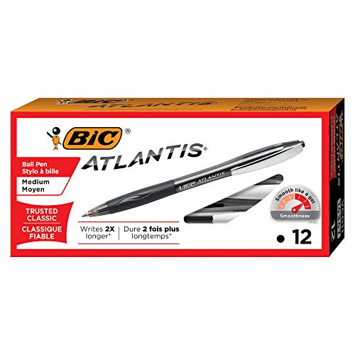 BIC VCG11-BLACK  Atlantis Original Retractable Ball Pen, Medium Point (1.0 mm), Black, 12-Count