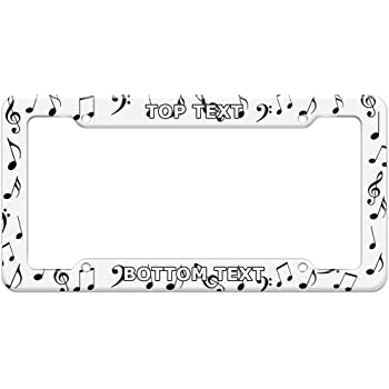 DZGlobal Music Note License Plate Frame 2 Holes Art License Plates Frames White Black Notes Car Tags Printed Auto Tag Personalized Automobile Decoration with Screws for Women Men