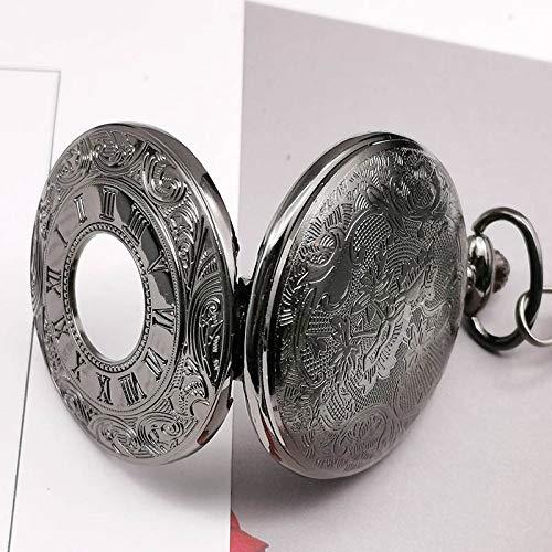 CAIDAI&YL Reloj de bolsillo con colgante de cadena y colgante de cuarzo, color negro