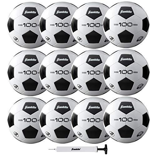 Franklin Sports Competition F-100 Balón de fútbol, Tamaño 3, 12 balones desinflados con Bomba, Blanco, 3