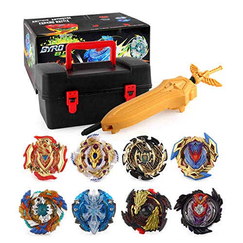 Suiyue Tech. Trottole da Combattimento - Beyblade Burst - Giocattoli educativi - 1 Set Beyblade Gyro Toy Kids (8 Trottole + 15 Accessori Speciali)