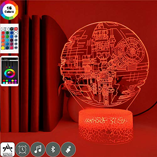 Domrx Night Light Control Overlord Gown 3D Led 7 Colores Cambiar lámpara de Mesa para Dormitorio Decoración Brithday Regalos Light-10_Alarm Clock Base_China