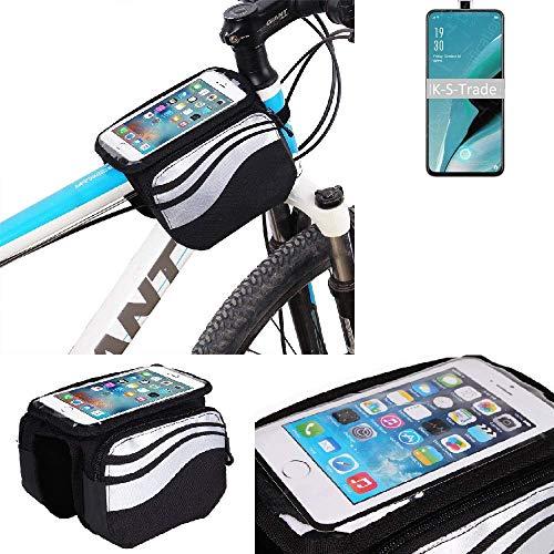 K-S-Trade Rahmentasche Für Oppo Reno2 Z Rahmenhalterung Fahrradhalterung Fahrrad Handyhalterung Fahrradtasche Handy Smartphone Halterung Bike Mount Wasserabweisend, Silber-schwarz