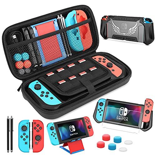 HEYSTOP Custodia per Nintendo Switch Accessori,TPU Cover per Nintendo Switch Console con Pellicole Protettive,Playstand,Penna Touchscreen,Grip Cover e Thumb Grips per Nintendo Switch Controller