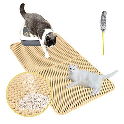 Authda Große Katzenklo Matte mit Katzenspielzeug,75x58cm Faltbares Katzenstreu Matte aus 2 Schichten,Wasserdichte Katzenmatte