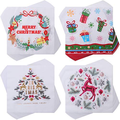 80 Piezas Servilletas de Navidad Servilletas Papeles Desechables de Cóctel Servilletas Decorativas para Suministros Fiesta Navidad Té Almuerzo, 4 Diseños, 6,7 x 6,7 Pulgadas Plegados