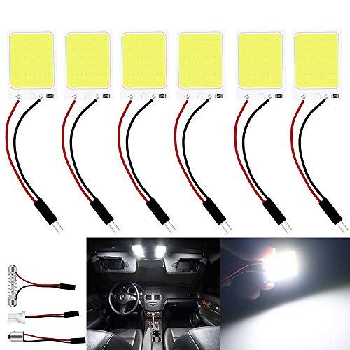 JAVR – Paquete de 6 luces LED COB muy brillantes de 200 lúmenes, 24 SMD, 12 V CC, para coche, panel de iluminación interior, lámpara de techo, con 10 bombillas T10, BA9S, adaptador Festoon