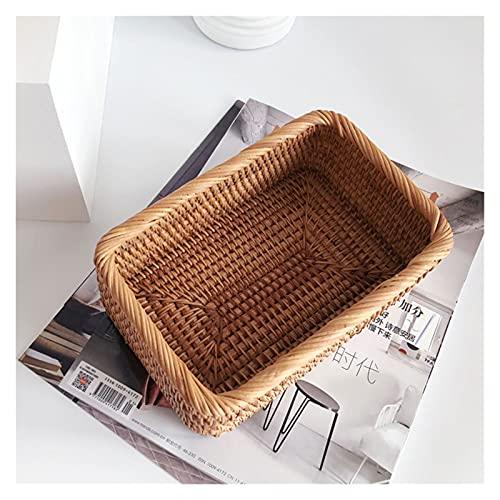CML Mano Tejida Rattan Mimbre Cesta Fruta Té Snack Pan Picnic Cosmética Rectangular Caja de Almacenamiento Cocina Hogar Suministros (Size : 30x20x9cm)