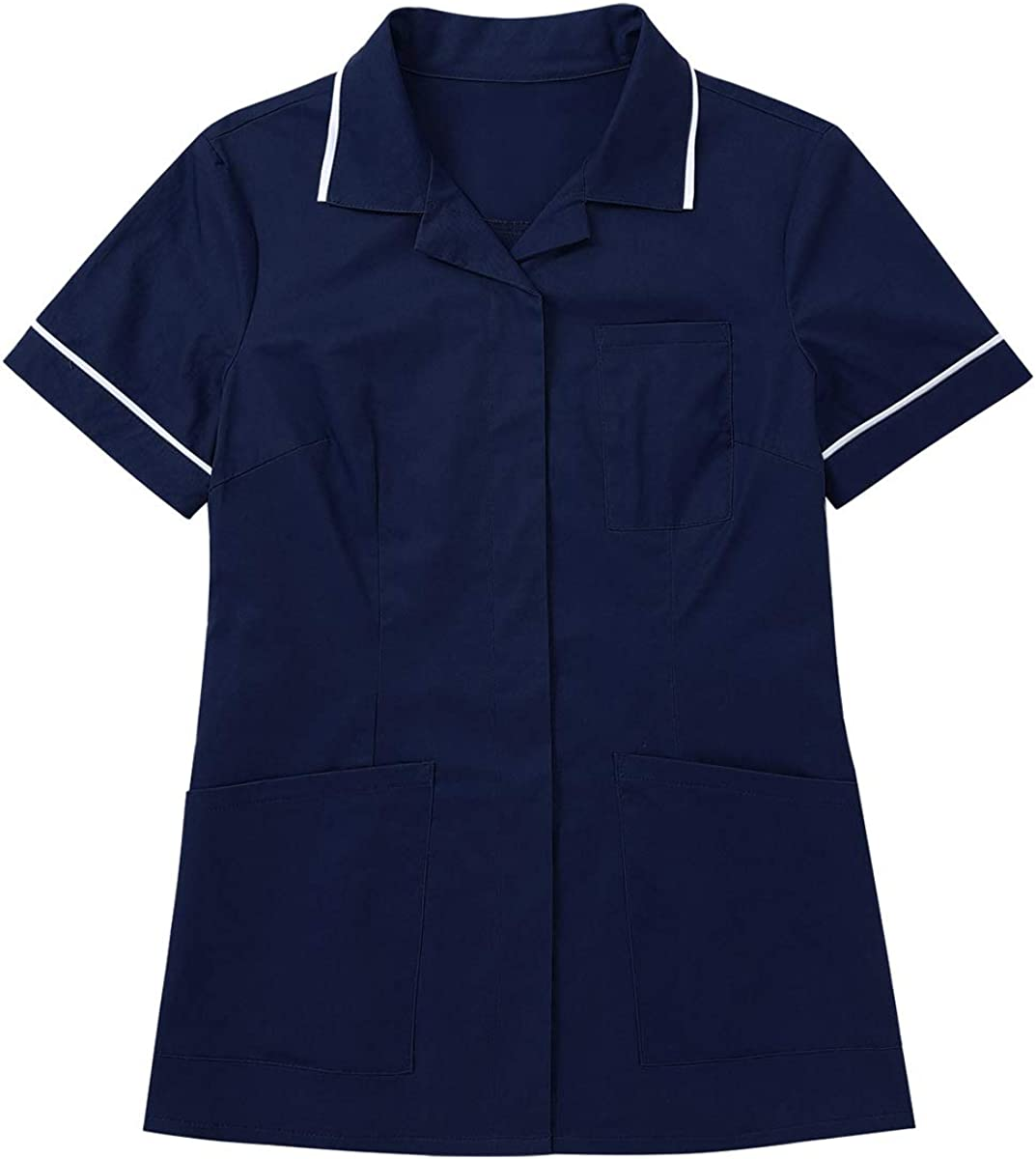 Freebily Damen Uniformen Schlupfkasack Oberteil Tunika Kurzarm Button-down Top Medizinische Berufsbekleidung Pflege Arbeitskleidung OP-Kleidung Marineblau