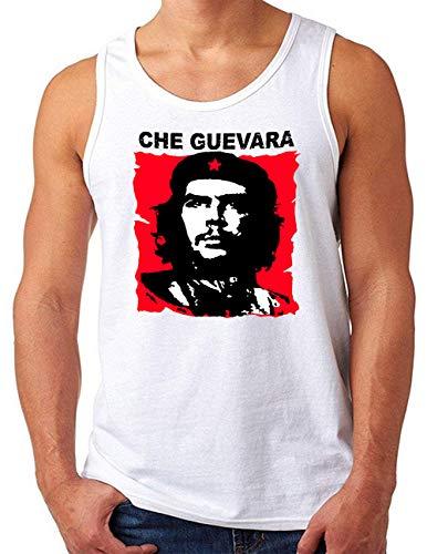 OM3® Che-Guevara Tank Top Shirt | Herren | Cuba Viva La Revolution Castro Rebel | Weiß, S