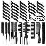 30 pcs Pinces Crocodiles Cheveux Epingles de Coiffure Professionnel + 10pcs Ensemble de Peigne Clip à Cheveux Poignée Barrettes en Crocodile Clips de Sectionnement Accessoire pour Femmes Filles Noir