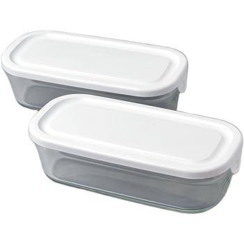 iwaki イワキ 耐熱ガラス パック&レンジ BOX ハーフ ホワイト 500ml 2個セット 重ね長角パック SKC3246-W2 2個セット