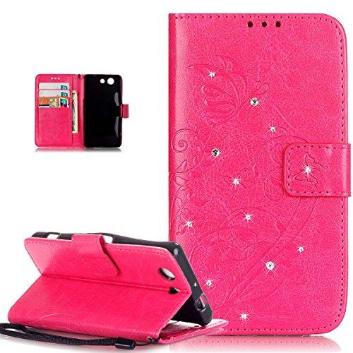 Kompatibel mit Schutzhülle Sony Xperia Z3 Compact Hülle Handyhülle,Strass Glänzend Prägung Blumen Reben Schmetterling PU Lederhülle Handyhülle Taschen Flip Wallet Ständer Etui Schutzhülle,Rose Red