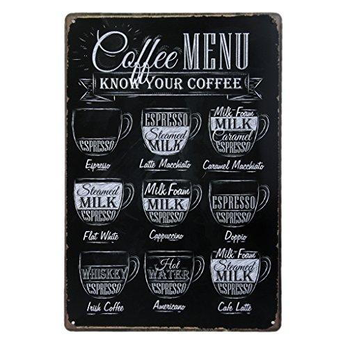 Poster stile vintage da parete in metallo e stagno, ideale per il bar, caffè, pub, 20x 30cm (lingua italiana non garantita)