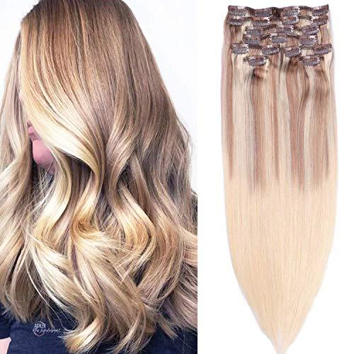 Clip in Extensions Echthaar Remy Haarverlängerungen 8pcs 160g 9A Haar 100% Menschenhaar #(12T613) P613 Blonde Ombre Balayage Extension Clip in Extensions 16Zoll/45cm