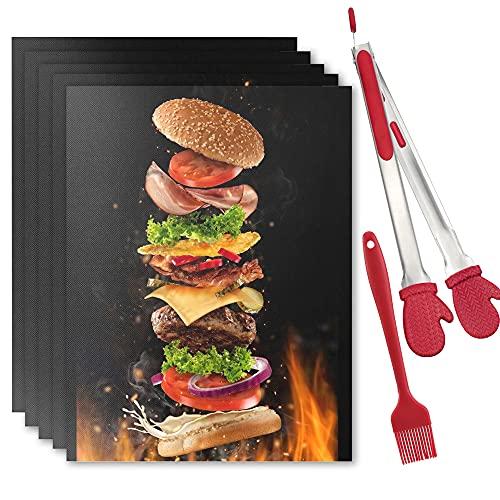 YiWeel BBQ Grillmatten Wiederverwendbare für Gasgrill,Antihaft Magische Grillmatte 5er Set 40x33 cm,PFOA Frei Teflon Grillmatte für Holzkohlegrill(Schwarz)