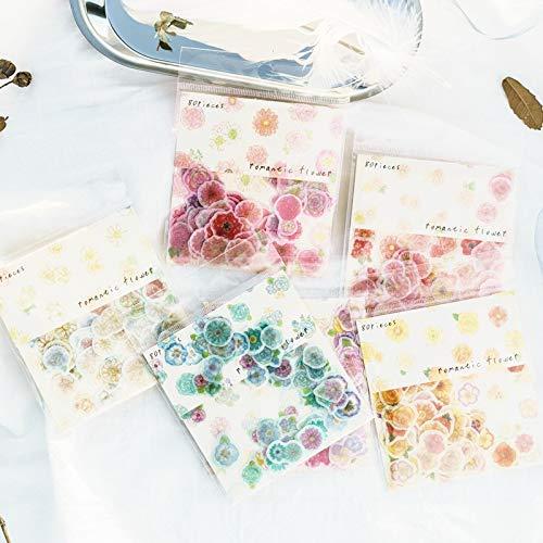 BLOUR stickers van papier met bloemen in aquarelkleur om zelf te maken, scrapbooking, decoratieve stickers, verpakking schrijfwaren voor kantoor