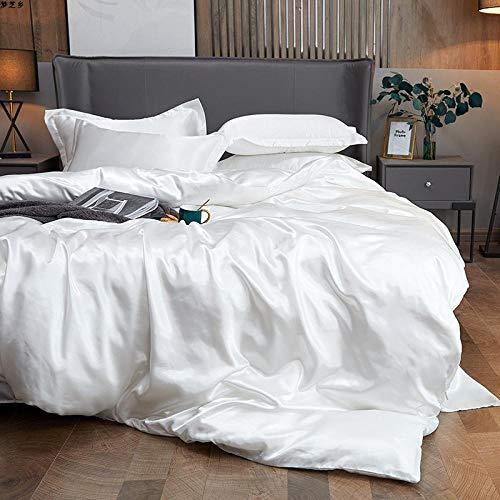 Funda Nordica Cama 150/135 Microfibra,Verano hielo seda de cuatro piezas software de cama de cuatro piezas lavado de agua seda colcha cubierta de seda cama de seda una almohada conjunto de regalos-U_