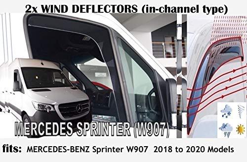 OEMM Windabweiser im Kanal-Typ, kompatibel mit Mercedes Benz Sprinter W907, Van, Kleinbus 2018, 2019, 2020 Modelle, Seitenblende, Fensterabweiser, 2 Stück