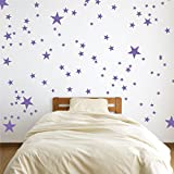 The Decal Guru Vinyl Star Wall Decal Stickers for Home Wall Decor Night Sky Removable Graphic Transfers for Nursery or Kids Room, 24' x 27', Lavender