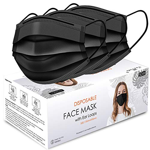 Black Disposable Face Masks for Protection, Safety Masks Black Dust Face Masks for men women