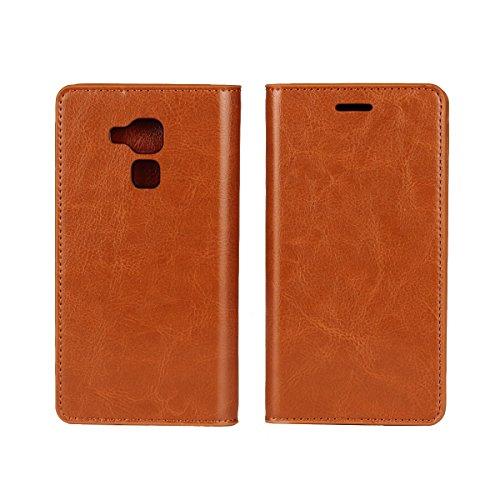 Sunrive Für Huawei Honor 5C, Echt-Ledertasche Schutzhülle Etui Hülle mit Standfunktion Flip Lederhülle Cover Hülle Handyhülle Schalen Handy Tasche(Braun gelb)+Gratis Universal Eingabestift