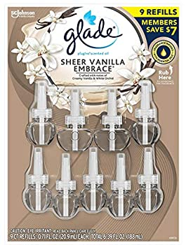 Glade PlugIns Scented Oil Warmers Sheer Vanilla Embrace Essential Oil Infused Wall Plug in 6.39 Ounce 9 Refills