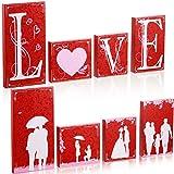 Juego de Letreros de Mesa de San Valentín de Love Cartel de Love de Madera Set Decoraciones de Mesa de Madera de Amor en Impresión a Doble Cara para Fiesta Mesa Pared