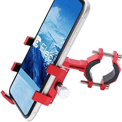 "ELECFUN Bike Phone Mount Motorcycle Premium Aluminum Bicycle Phone Holder, 360° Rotatable, Fits iPhone 11 Pro Max X XR Xs 7s 8 Plus Samsung S20 S7/S6/Note 10/9/8, Fit Any 2.2""-3.9"" Wide Phones, Red"