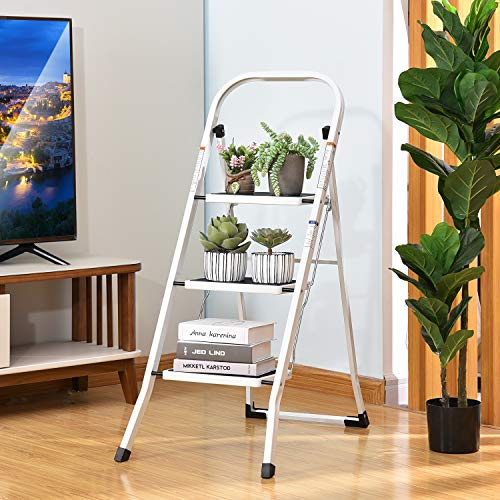 TOOLF 4 Step Ladder, Folding Step Stool with Handgrip, Metal Ladder with Anti-Slip Rubber Feet and Wide Pedal, Portable Step Ladder White and Black 4-Feet