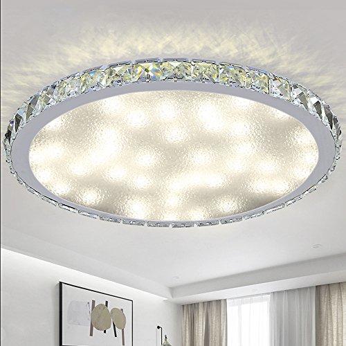 VINGO® 48W LED Deckenleuchte Crystal Deckenlampe Dekor Wohnzimmer Funkel Deckenbeleuchtung Rund Badleuchte Küchenleuchte Effektlicht Panel Dimmbar mit Fernbedienung