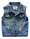 Little Boys Girls Spring Autumn Denim Vest Jacket Waistcoat Top Style2 Blue 100