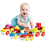 LUKAT 1 Year Old Boy Gifts, Toddler Toy Cars Set of 4 Friction Powered Cars, Pull Back Cars Cartoon...