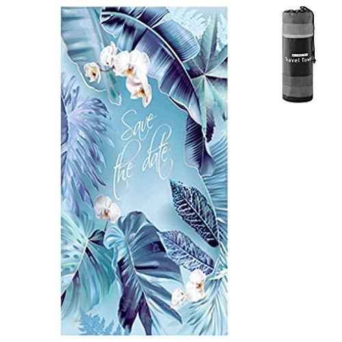 RG-FA Toalla de playa de microfibra Toallas de playa de gran tamaño absorbente compacto a prueba de arena manta de playa ligera toalla - plátano azul