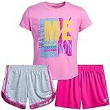 Reebok Girls' Activewear Set - Short Sleeve Performance T-Shirt and Gym Shorts Kids Clothing Set (3 Piece), Size 6X, Begonia/Heather Grey/Pink