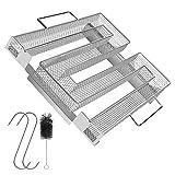 Kaltrauchgenerator - HOSPAOP Rauchgenerator Edelstahl Kaltraucherzeuger mit Bürste + Haken, Räucherzubehör für Kugelgrill Smoker und Räucherofen, Mehrweg (22,5x21x4,5 cm)