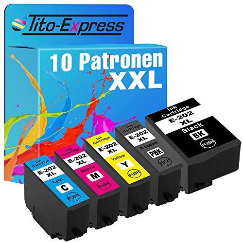 Tito-Express Juego de 10 cartuchos de tinta compatibles con Epson 202XL 202 XL con 16 ml negro y 10 ml por color XXL, Expression Premium XP-6000, XP-6005, XP-6100 y XP-6105