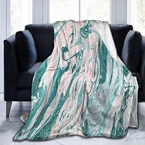 HUA JIE cálida, Ligera, para Cama Textura de mármol Hecha a Mano Pintura Verde Suave Rosa y Turquesa Fondo Hermoso Arte Moderno Creativo, para sofás/Sillas/Sofá