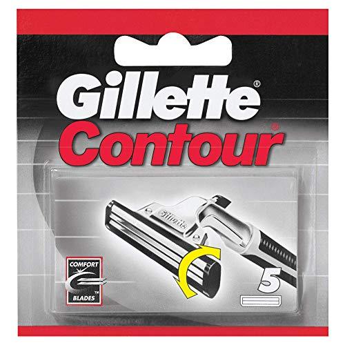 Gillette Contour Cuchillas de Afeitar Hombre, Paquete de 5 Cuchillas de Recambio