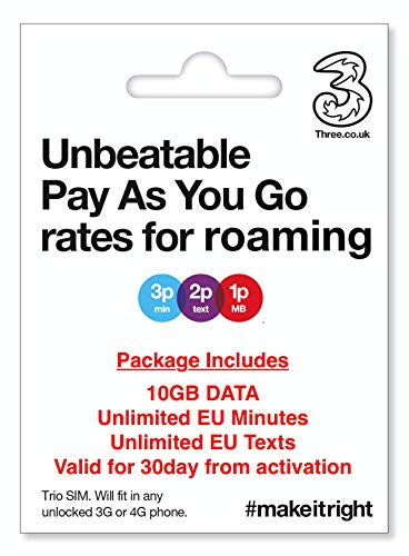 European (UK Three) Holiday SIM/Roaming SIM inc 10GB Data, Unlimited European Minutes & Texts. Use Data in 71 Destinations Around The World.