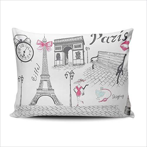DKISEE Rectangle Pillowcase Retro Paris Eiffel Tower Triumphal Arch Lumbar Throw Pillow Cover Cushion Case Doule Sided Print 12x20 inches