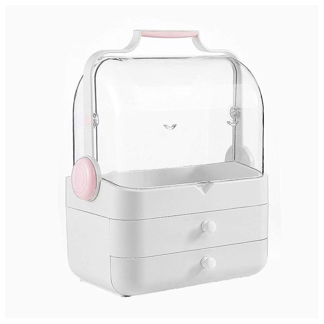 セミナー泣き叫ぶ代わりにを立てるLDG クリア 化粧品収納ボックス、プラスチック ポータブル 大容量 引き出し 蓋 防水 防塵 メイクケース (Color : A)