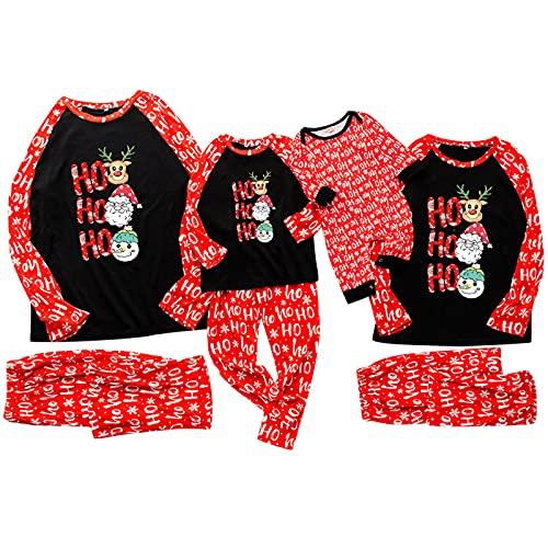 Weihnachten Schlafanzug Familie Kinder Baby Jungen Pyjama Langarm Mädchen Zweiteilig Schlafanzüge Set Winter Kariert Kuschelig Nachtwäsche Hausanzug