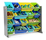 Humble Crew Extra-Large Toy Organizer, 16 Storage Bins, Grey/Blue/Green/Yellow