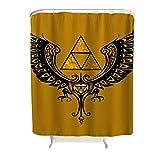 CATNEZA dreieck Zelda Muster Duschvorhänge Anti-Bakteriell hochwertige Qualität Shower Curtain flügel Bad Vorhang mit lebendigen Farben 200x200cm White 150x200cm